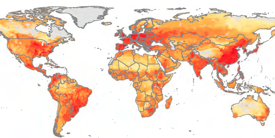 Regions that produce the most pork and chicken also use the most antibiotics on farms. Hot spots around the world include the Midwest in the U.S., southern Brazil, and China's Sichuan province. Yellow indicates low levels of drug use in livestock; orange and light red are moderate levels; and dark red is high levels. (Image Credit: PNAS).
