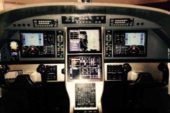 A close shot of the dashboard inside an RFDS plane.