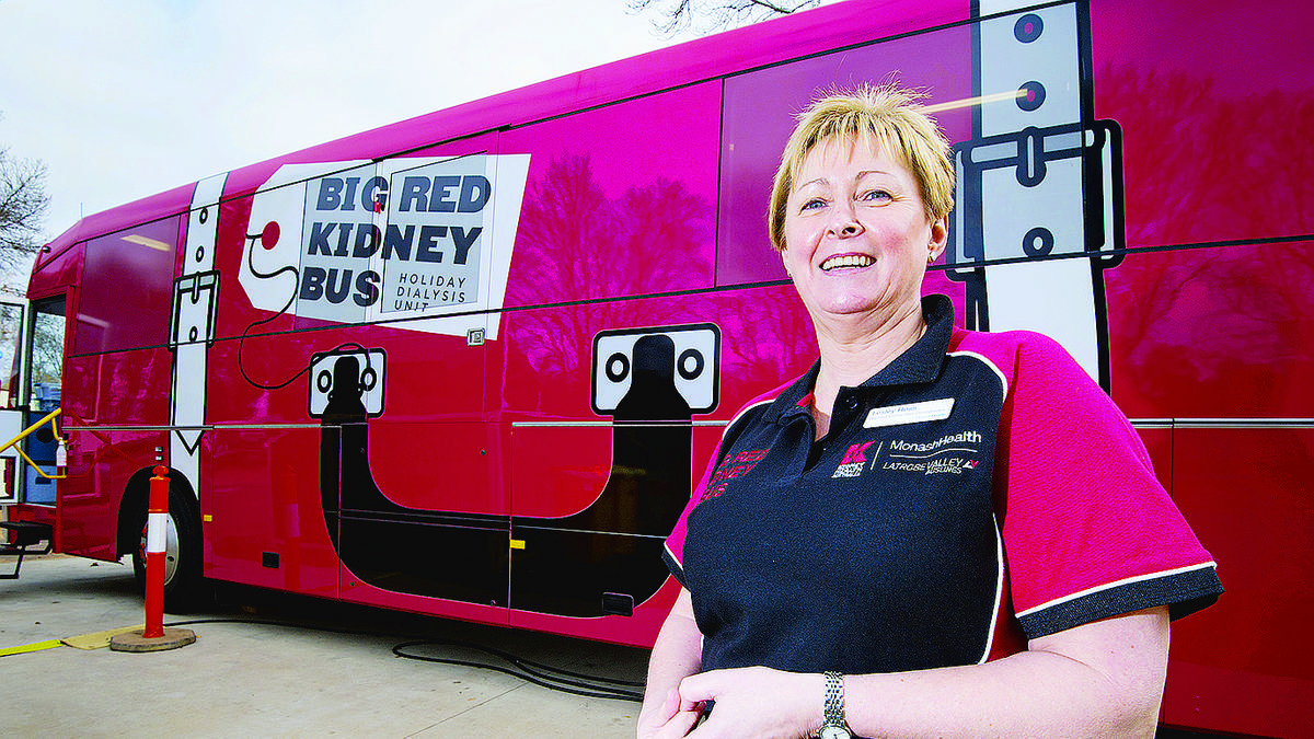 Sign of life: Big Red Kidney Bus co-ordinator and on-duty dialysis nurse Lesley Ross with the mobile haemodialysis unit yesterday.Pictures: Carmel Zaccone