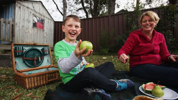 Fruit is just fine: Leonie Giddy and her son Bradford, 7 who is allergic to peanuts.