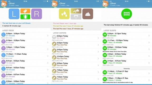 The Feed Baby app lets you track your baby's every diaper, nap and feed.