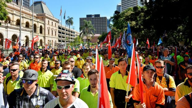 Workers and Union members protest for workers rights and the treatment of victims of Black Lung disease. Photo: Bradley Kanaris