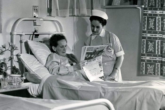 1954 black and white photo of a nurse, patient at Peter MacCallum Hospital