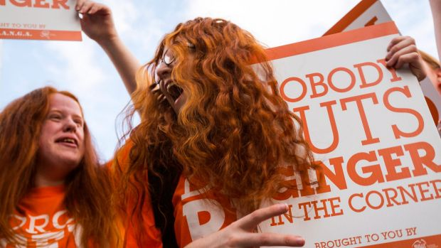 Bronte Bacash from Albury attends a Ginger Pride Rally in Melbourne.