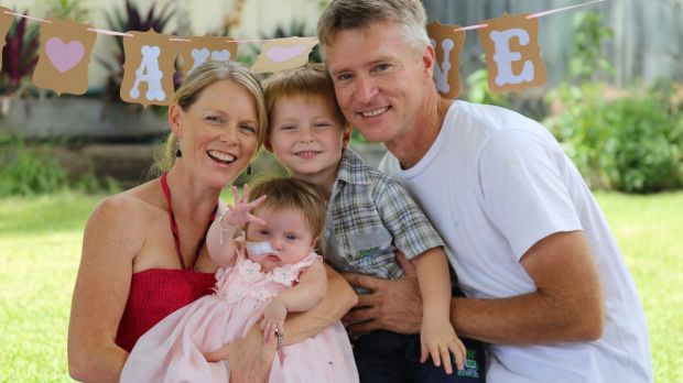 Glenn and Anthea Anderson and their son Lucas, 3, celebrating the first birthday of daughter Elise at their home on the ...