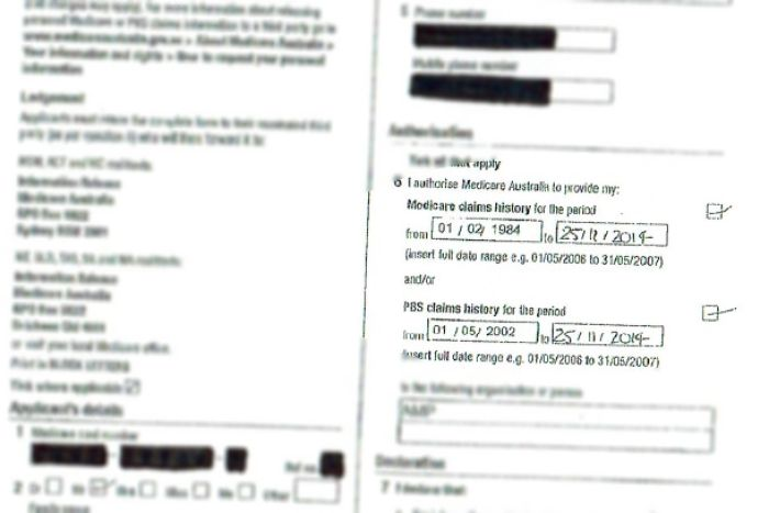 Photo:AMP had pre-filled a Medicare form allowing them access old Medicare claims.(Supplied)