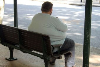 An obese man sits on a bench in Brisbane in April 2014.
