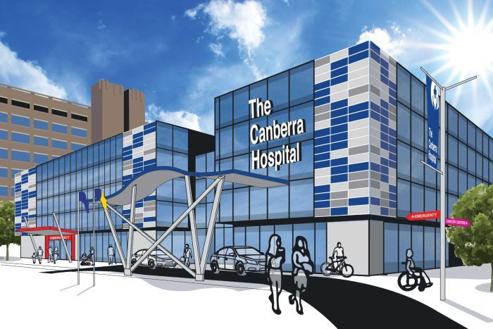 Photo: An artist's impression of the proposed hospital building. (Supplied: Canberra Liberals )