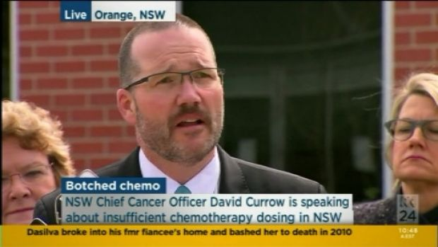 Professor David Currow releasing the report at Orange Hospital on Tuesday.