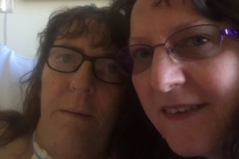 Lynda Peters with her sister Tammy Harman in Dubbo Base hospital