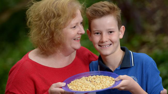CRUNCHY: Kirstin White is glad her son Rory can now eat a handful of roasted peanuts a night. Picture: KERYN STEVENS
